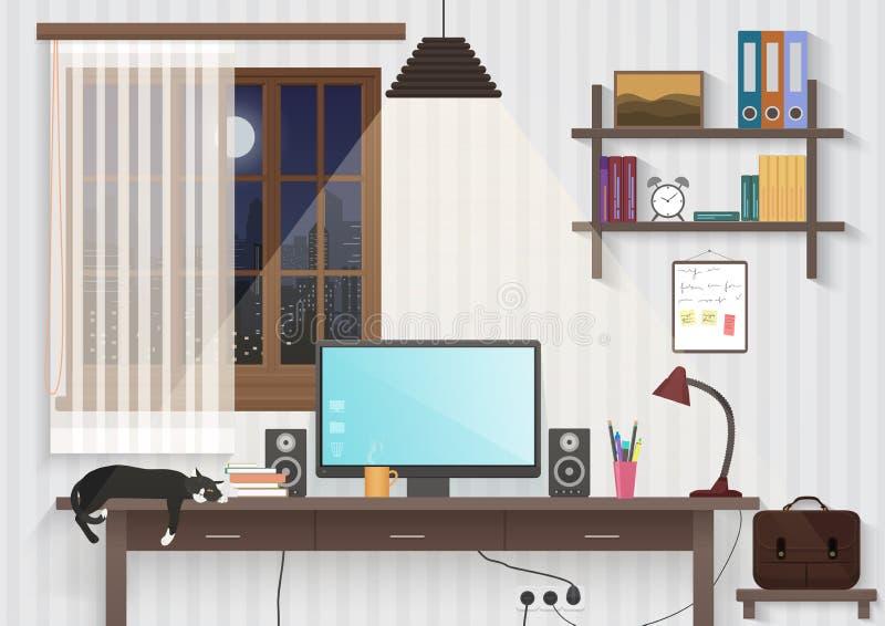 有工作场所的现代少年人室 男性人桌面工作场所计算机在现代办公室或家 库存例证