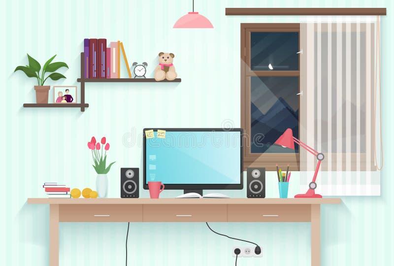 有工作场所的现代少年女孩室 妇女女性桌面工作场所计算机在现代办公室或家 向量例证