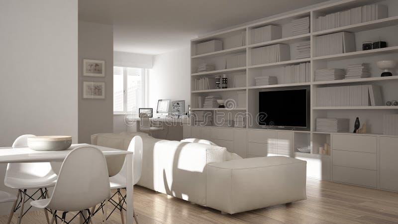 有工作场所角落、大书架和餐桌的,最小的白色建筑学内部现代客厅 库存例证