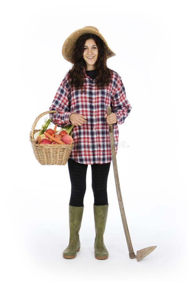 有工作工具的年轻与菜和果子的农夫和篮子 图库摄影