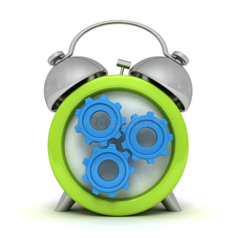 有工作的被连接的蓝色齿轮绿色闹钟 皇族释放例证