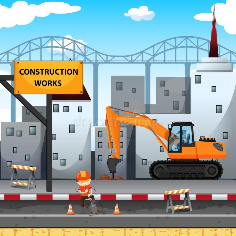 有工作者和钻子卡车的建筑工作站点 向量例证