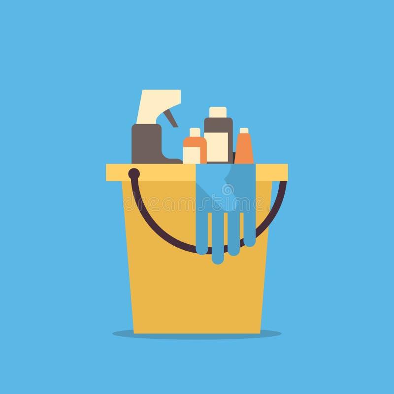 有工具和项目管理员公司概念的清洗的服务桶平展 库存例证