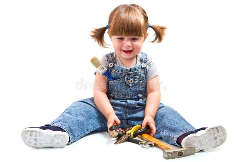 有工具的女孩 库存照片