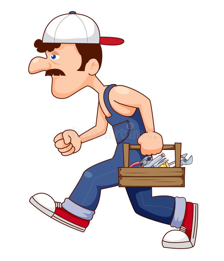 有工具的建筑工人 库存例证