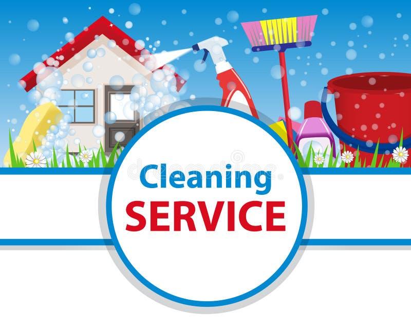 有工具的海报干净的房子为洁净和消毒作用o 库存例证