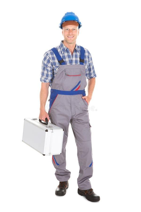 有工具箱的体力工人 免版税库存图片