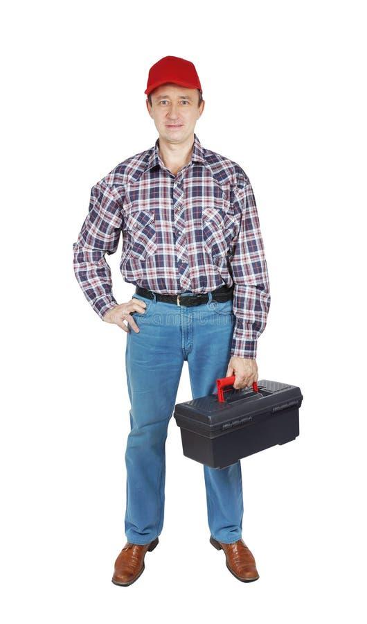 有工具箱的水管工 免版税库存图片