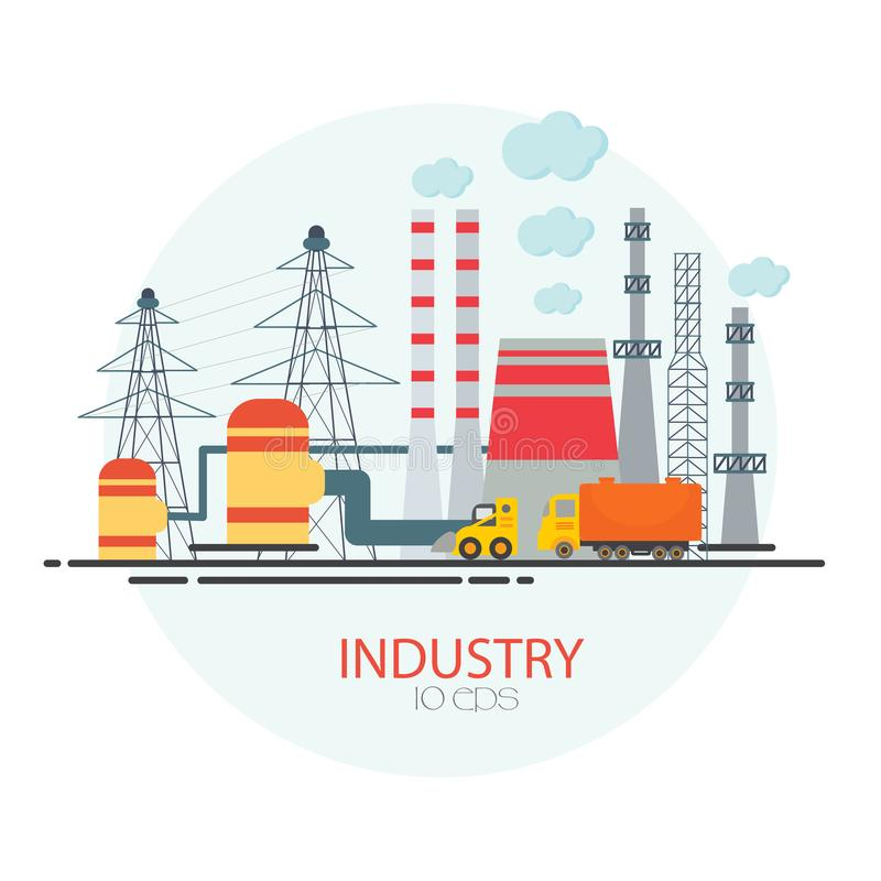 有工厂的,植物,仓库,企业工业区 向量例证