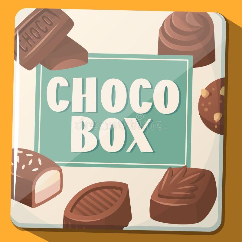 有巧克力甜点的减速火箭的金属箱子 也corel凹道例证向量 库存例证
