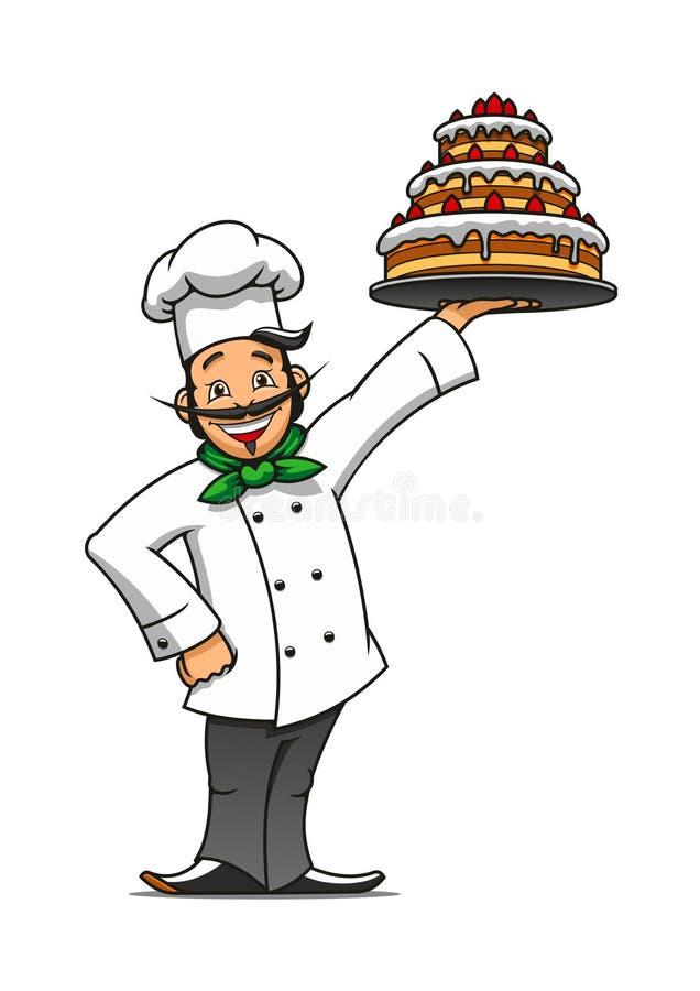有巧克力蛋糕的动画片法国厨师 向量例证