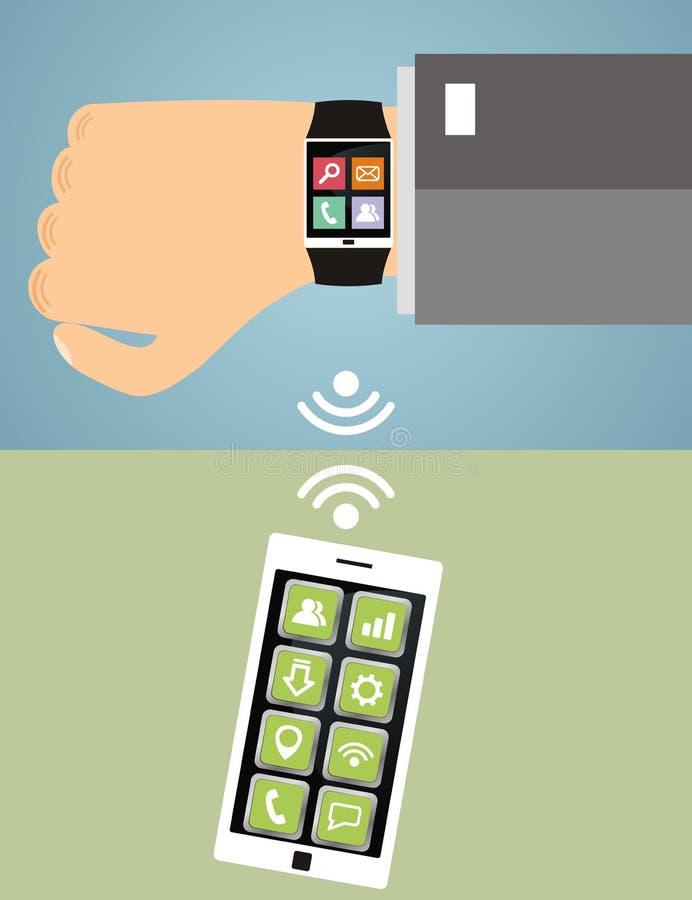 有巧妙的手表和巧妙的电话的手 现代技术, c 库存例证