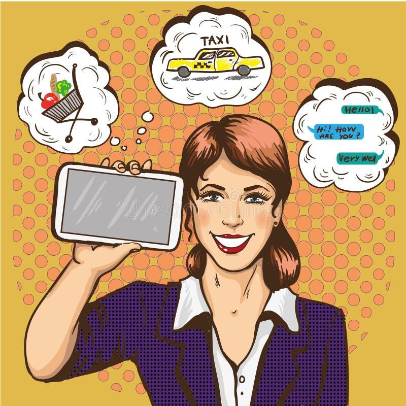 有巧妙的电话可笑的流行艺术传染媒介例证的美丽的妇女 女孩在她的手上的拿着大智能手机 向量例证