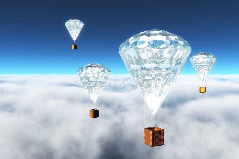 在云彩的金刚石热气球 向量例证