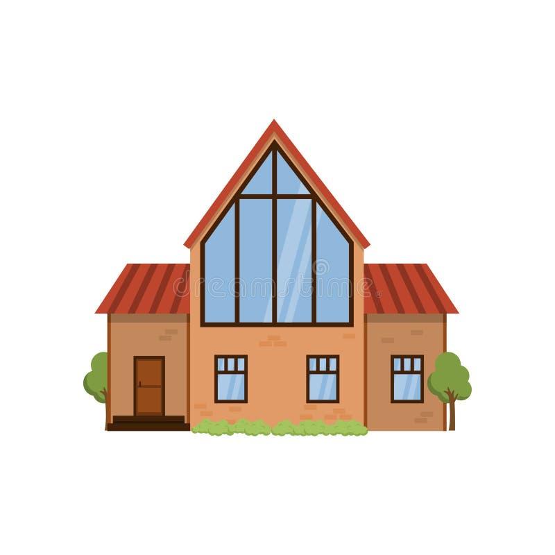 有巨大的前窗的木现代二层楼的房子在二楼上 皇族释放例证