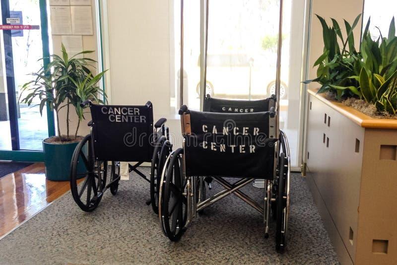 有巨蟹星座的轮椅在候诊室集中  免版税库存照片