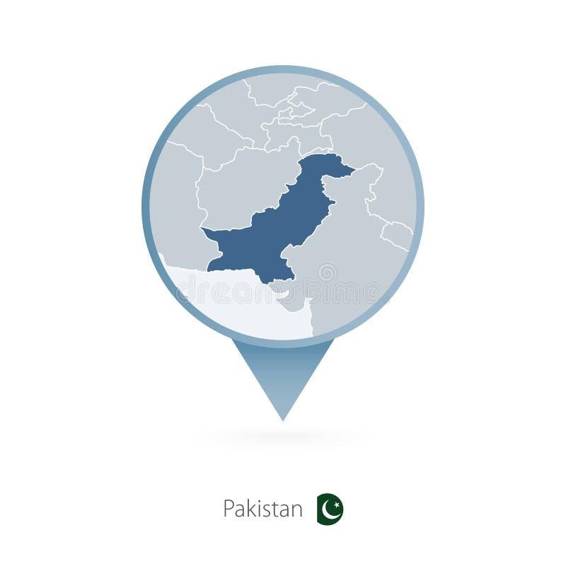 有巴基斯坦和邻国详细的地图的地图别针  皇族释放例证