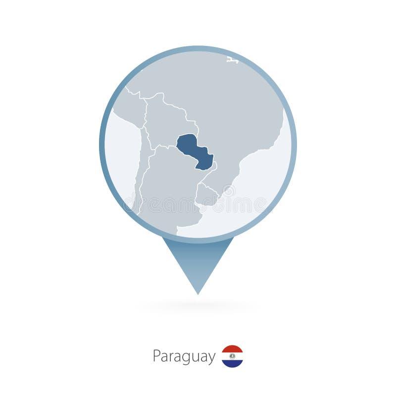 有巴拉圭和邻国详细的地图的地图别针  皇族释放例证