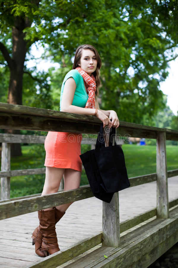 有布料倾斜在木桥的购物袋的美丽的女孩 免版税库存图片