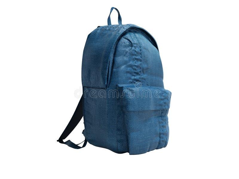 有布料的现代蓝色背包少年的3d回报在白色背景阴影 向量例证