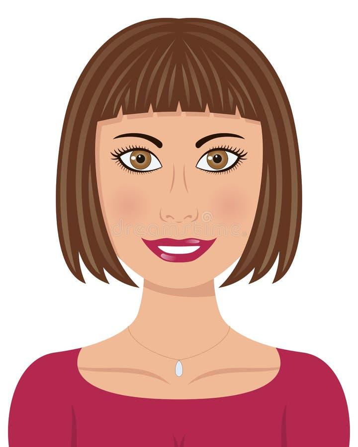 有布朗头发和布朗眼睛的妇女 向量例证