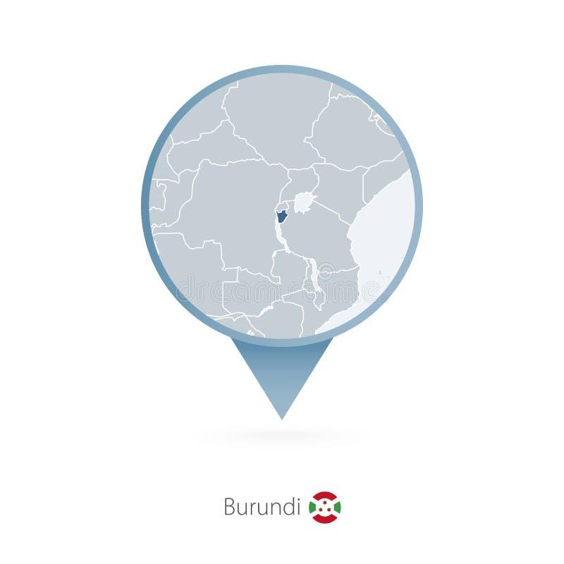 有布隆迪和邻国详细的地图的地图别针  皇族释放例证