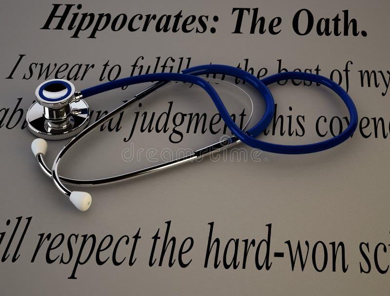 有希波克拉底誓言的听诊器 向量例证