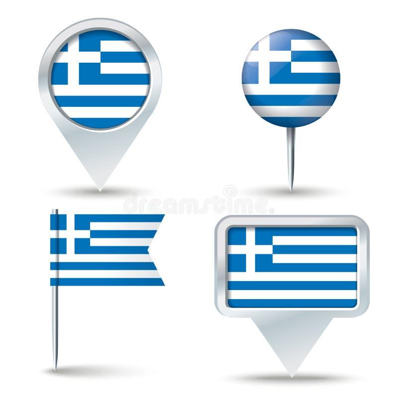 有希腊的旗子的地图别针 皇族释放例证