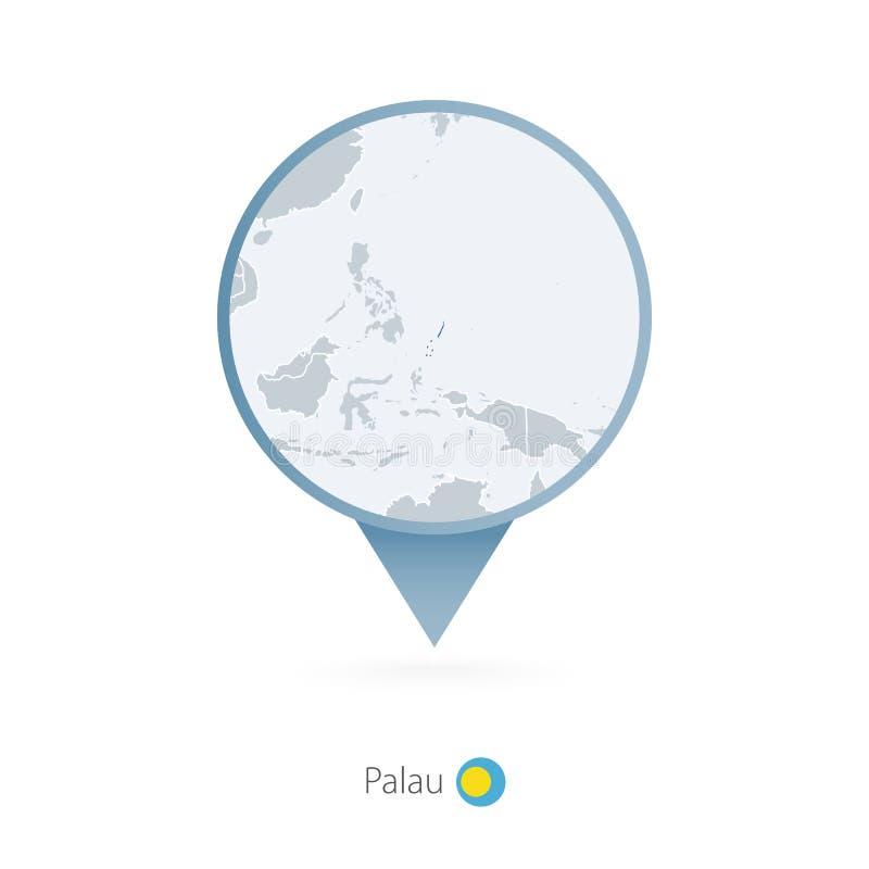 有帕劳和邻国详细的地图的地图别针  库存例证