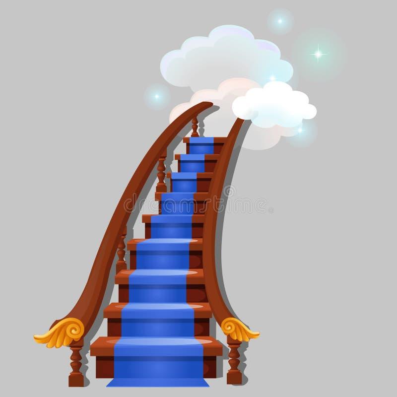 有带领入与在灰色背景隔绝的发光的星的云彩的蓝色地毯的台阶 贺卡的剪影 库存例证