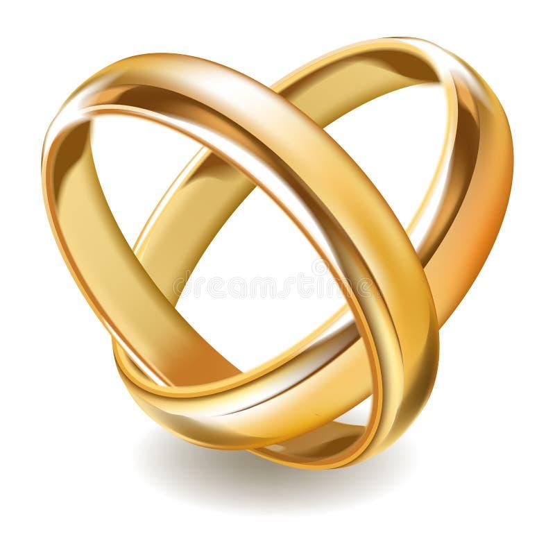 有席子的发光的金子婚戒隔绝了现实例证 向量例证