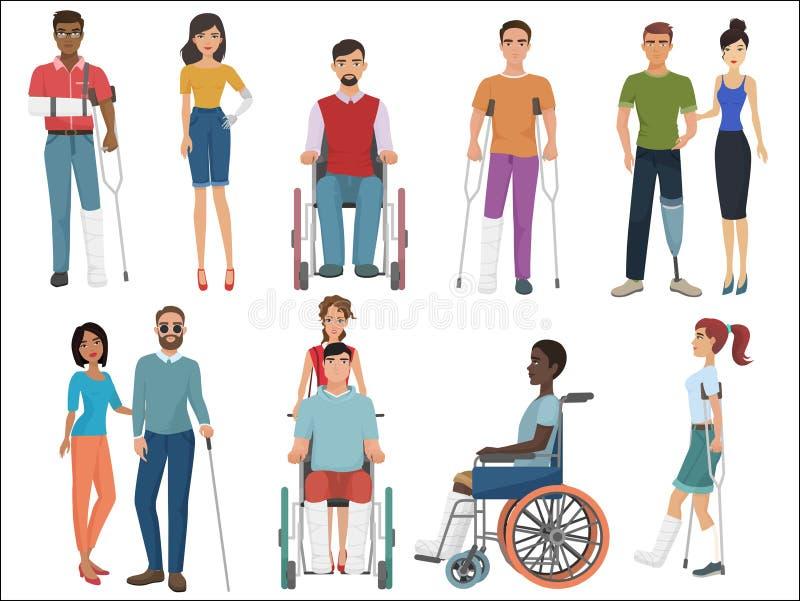 有帮助他们的朋友的残疾人设置 也corel凹道例证向量 向量例证