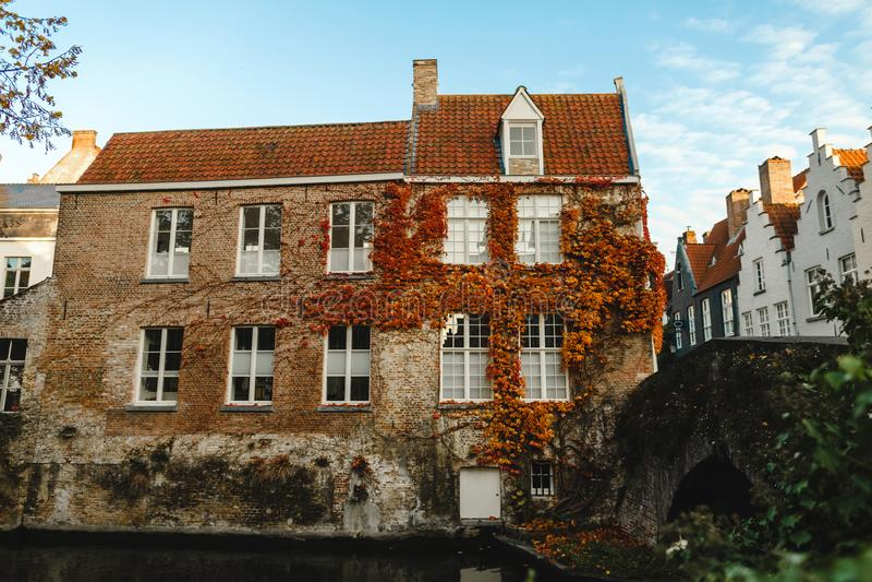 有常春藤的美丽的老房子在运河和桥梁附近的墙壁上 图库摄影