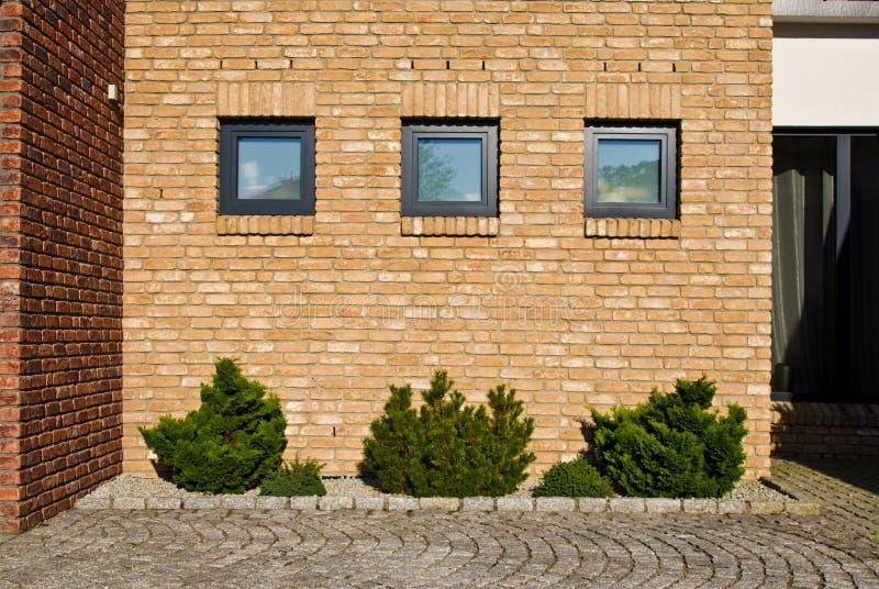 有常绿植物的现代砖墙设计 免版税库存图片