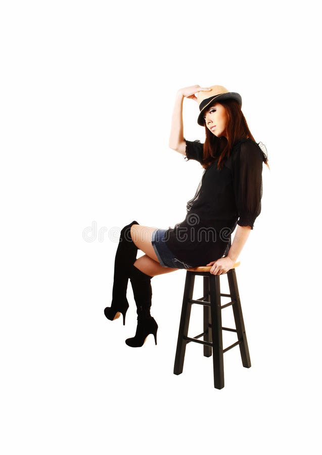 Download 有帽子和起动的女孩。 库存照片. 图片 包括有 偶然, glamor, 现有量, beauvoir, 方式 - 30325758