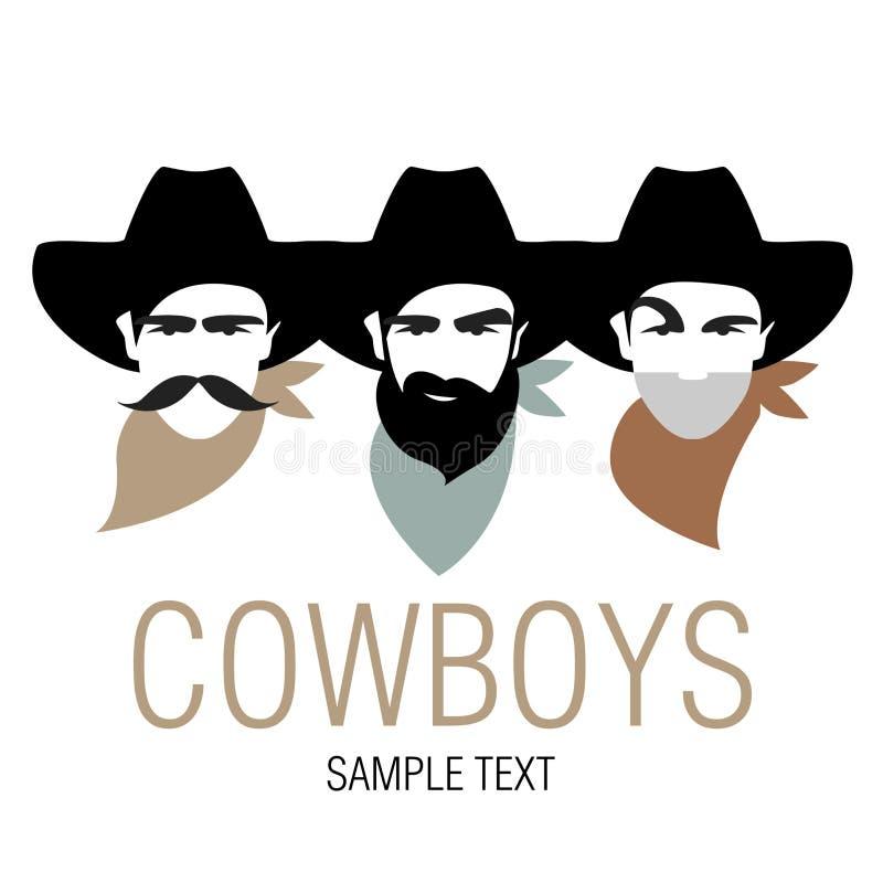 有帽子和颈巾的三位牛仔 美国的符号图象 向量例证