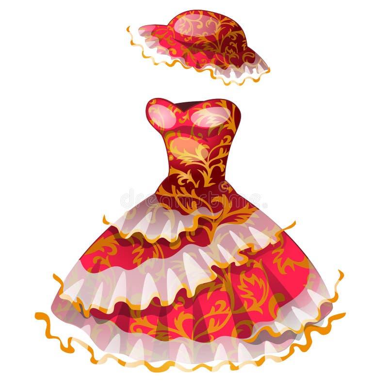 有帽子的典雅的红色经典礼服 库存例证