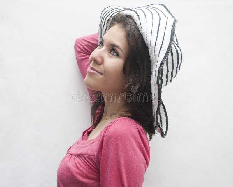 有帽子的妇女 免版税库存照片