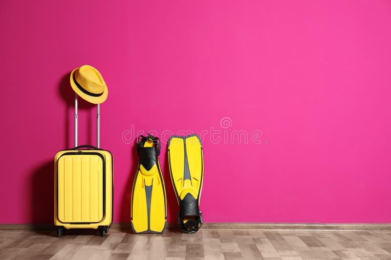 有帽子的手提箱和飞鱼临近颜色墙壁 库存图片