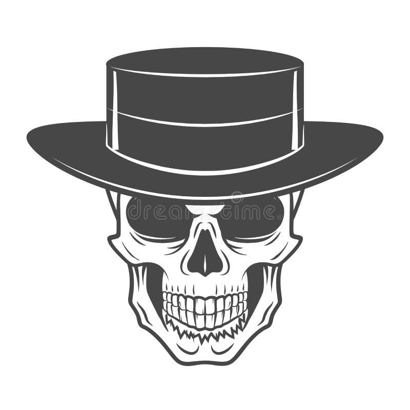有帽子的狂放的西部头骨 微笑的流浪者商标 皇族释放例证