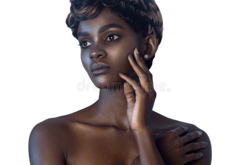 有干净的完善的皮肤的年轻美丽的妇女组成 库存照片