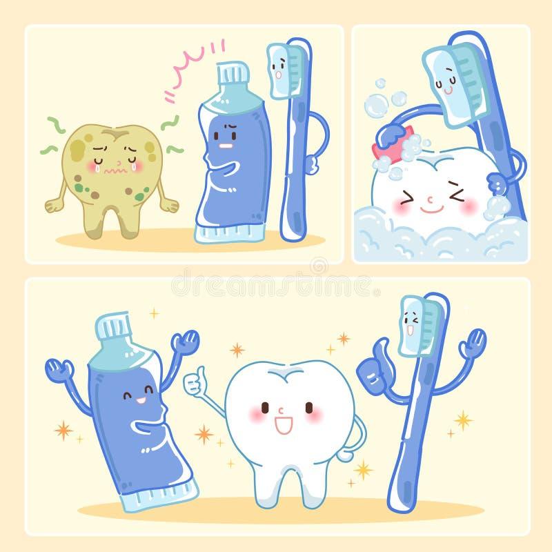 有干净的概念的牙 库存例证