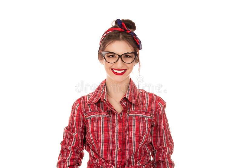 有干净的皮肤、自然构成和白色牙的微笑的妇女 免版税库存图片