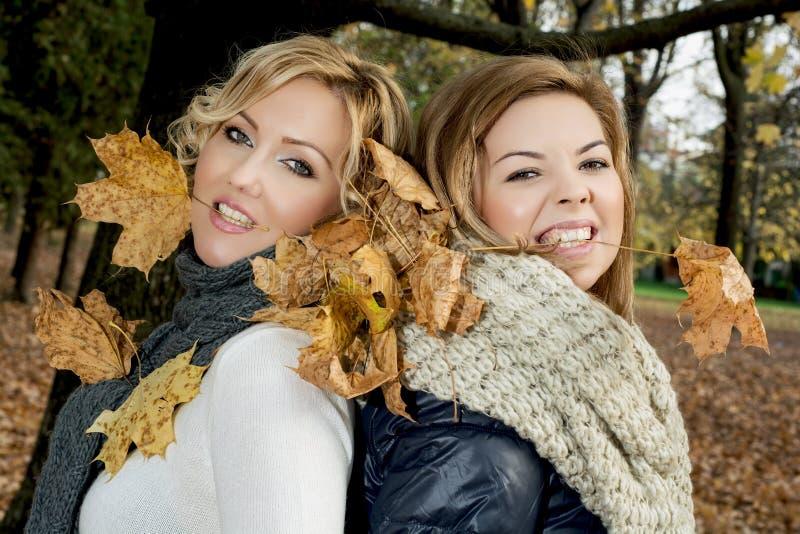 有干燥叶子的两名美丽的妇女在牙在秋天之前。 图库摄影