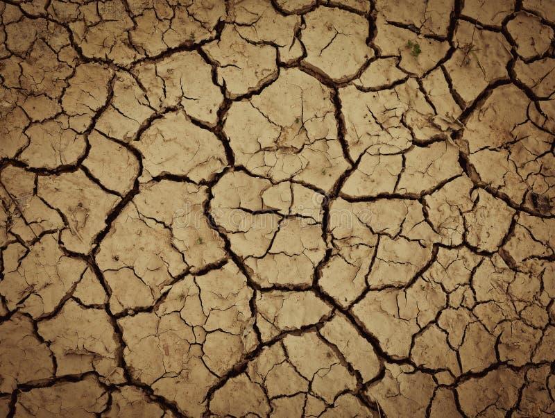 有干燥和破裂的地面的土地 全球性变暖背景 免版税图库摄影