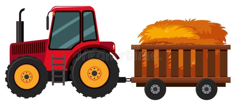 有干草的拖拉机在推车 向量例证