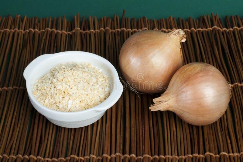 有干葱粉末的成熟葱和碗 免版税库存照片