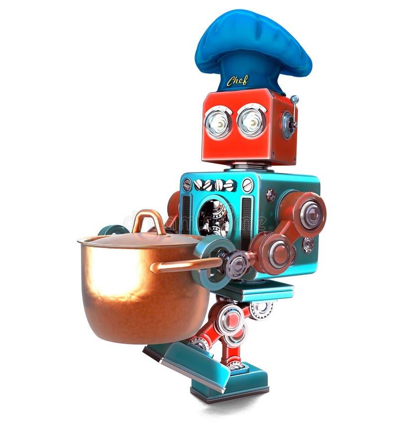 有平底深锅的机器人厨师 3d例证 查出 包含分类 库存例证
