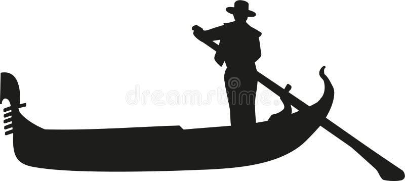 有平底船的船夫的长平底船在威尼斯 库存例证