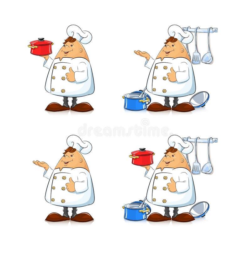有平底锅和碗筷的厨师